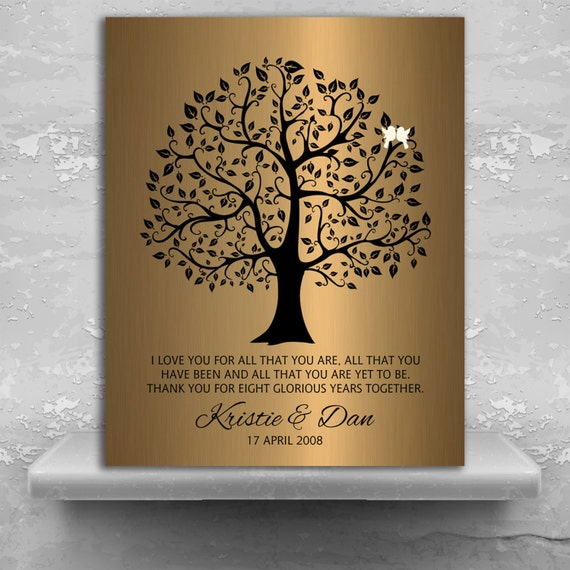 8 Year Wedding Anniversary Gift For Him: 8 Year Anniversary Personalized Wedding Tree Gift Faux Bronze