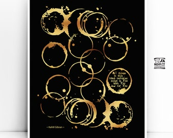 """Literary quote poster, """"Kahlil Gibran"""" Quote Black and Gold, Famous quote, Extra Large Wall Art Prints Literary, Gift for Men, Writer Gift"""
