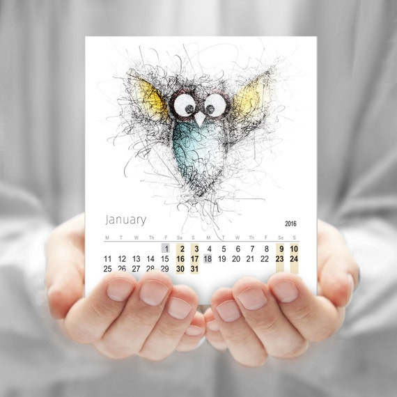 Calendar, Owl drawing, Desk calendar, CD calendar, Monthly calendar, Cute Owl calendar, Cute Kids calendar, Printable calendar DOWNLOAD