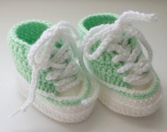 Baby Crochet High Top Shoe Bootie, Mint,  3-6 Months