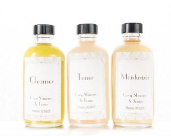 Skincare Set (three items: cleanser, toner, moisturizer)