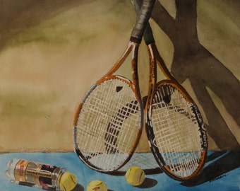 "Art, still life original watercolor, still life watercolor painting, by Martha Adams, 14""x15"", watercolor tennis racquets, gold blue yellow"