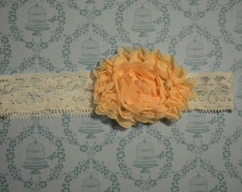Peach and White lace Headband