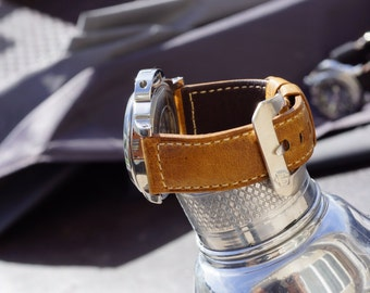WWII Leather Strap for Panerai - White Stitches (Watch and Buckle NOT included)