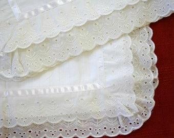 Double Ruffle Eyelet 100% Cotton Standard Pillow Sham Pair - Snowy White Rustic Farmhouse