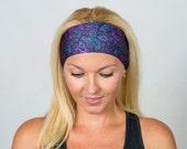 Fitness Headband Purple Paisley Yoga Headband Running Headband Workout Headband Purple Bohemian Headband Fashion Headband Women Turban