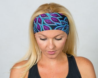 Yoga Headband Workout Headband Purple Yoga Headband Running Headband Boho Wide Headband No Slip Headband Hippie Headband Wicking Headband