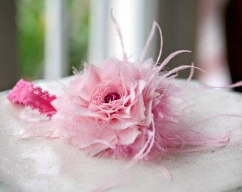 Pink Chiffion & Feathers Headband