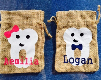 TOOTH FAIRY pouch custom made tooth fairy bag personalized kids gift, rustic tooth fairy bag, burlap drawstring pouch