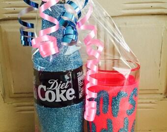 personalised diet coke Or Coke glitter glass & bottle set (favours) Birthdays