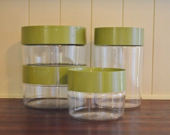 Set of 4 vintage Avocado Green Pyrex See N Store canisters - mod - 1970s - 1960s - retro kitchen