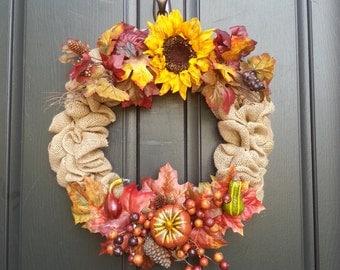 Burlap sun flower fall wreath