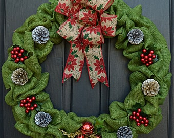 Green Burlap X-Mas Wreath