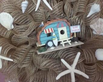 Burlap Beach Shack Wreath