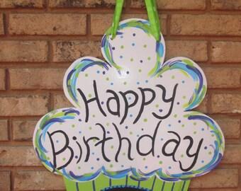 Happy Birthday Chalkboard Cupcake Wall Hanging