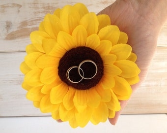 Sunflower Ring Pillow Alternative Ring Holder Ring Bearer Wedding Rings Rustic Wedding pillow