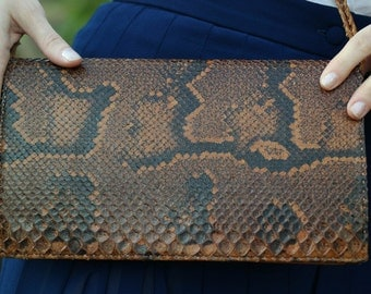 Vintage reptile leather pouch / 60s