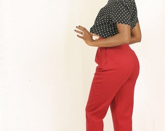 High waist pants vintage Red