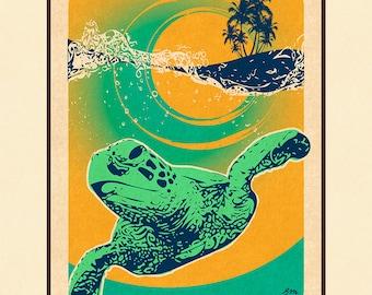 Art Print Honu Surf Retro Surf