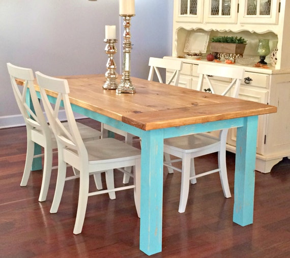 Turquoise Farmhouse Table/Handcrafted Dining Table/Distressed Table/Stained/Shabby  Shic/Cottage Style Table/Breadboard Ends