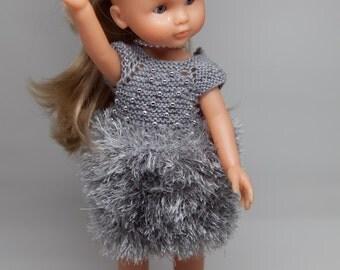 Robe boule grise à perles pour poupée 33 cm