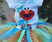 Blue Red Elmo 1st Birthday Outfit Onesie Rainbow Tutu FREE Hair Bow Personalized