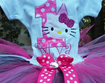 Hot Pink Hello Kitty 1st Birthday Outfit Shirt Tutu FREE Hair Bow Personalized