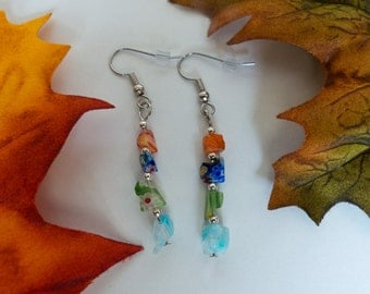 glass chip dangle earrings