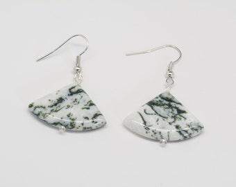 Tree Agate Earrings - Reiki Infused