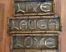 Horseshoe live laugh love art