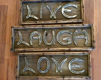 Horseshoe live laugh love art
