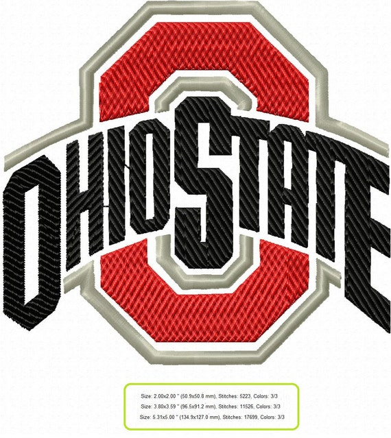 Ohio state buckeyes football embroidery machine patterns Oh design