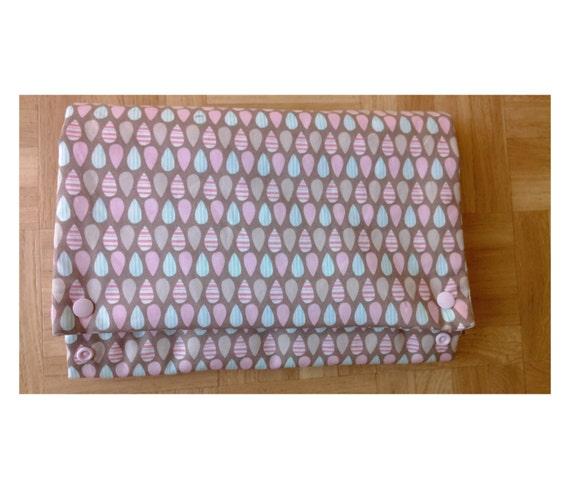 Nappy wallet with attached waterproof change mat - elephant splash ear - mushroom