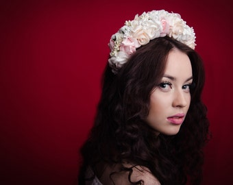 Bridal floral headpiece / pink white roses flower headband / rose crown / romantic headband
