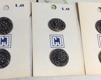 Vintage Metal Buttons, Floral, Silver Round Buttons