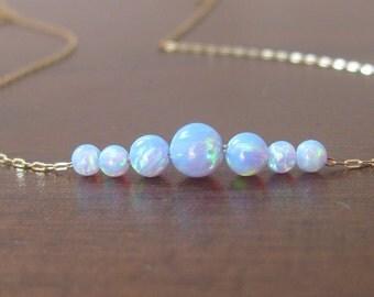 Opal gold necklace, opal ball necklace, opal necklace, opal jewelry, tiny dot necklace, opal bead necklace, fire opal, blue opa