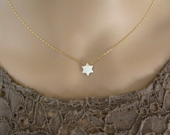 Opal necklace, Star of David necklace, gold necklace, opal bead necklace, opal jewelry, Jewish star, Jewish jewelry,Star of Dav
