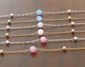 Blue opal bracelet, opal bracelet, opal bead bracelet, gold bracelet, opal jewelry, minimalist bracelet, ball bracelet, delicate bracelet