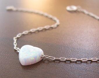 Opal bracelet, heart bracelet, silver bracelet, opal heart bracelet, white opal bracelet, glistening bracelet, fire opal bracel