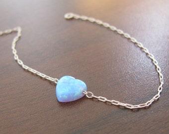 Opal bracelet, heart bracelet, silver bracelet, opal heart bracelet, blue opal bracelet, glistening bracelet, fire opal bracele