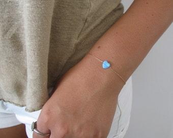 Opal bracelet, heart bracelet, gold bracelet, opal heart bracelet, blue opal bracelet, glistening bracelet, fire opal bracelet