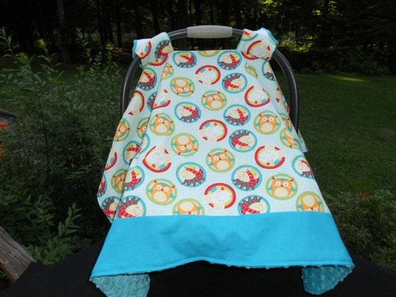 car seat canopy teal aqua orange brown owls mice. Black Bedroom Furniture Sets. Home Design Ideas