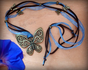 SALE - shipping free - Butterfly Necklace antique bronze + Ribbon organza blue and brown suede chocolate - long adjustable