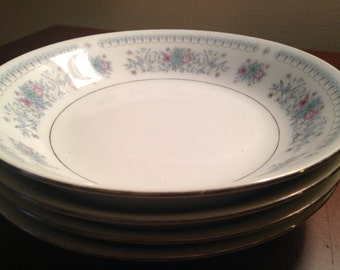 Floral China Bowls - Set of 4 - Large Blue Crown Ming China Bowls / Dinnerware / Soup Cereal Bowls