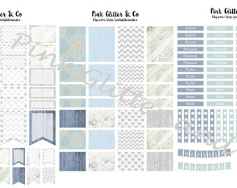 Printable Blue and Grey Kit for Plum Paper Planner