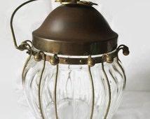 Vintage Lidded Ice Bucket or Cookie Jar, Glass with Brass Lid and Frame, Elegant Art Deco Design