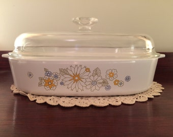 Corning Ware Daisy Floral Bouquet Large Casserole / Frying Pan, Vintage 1980s Cookware