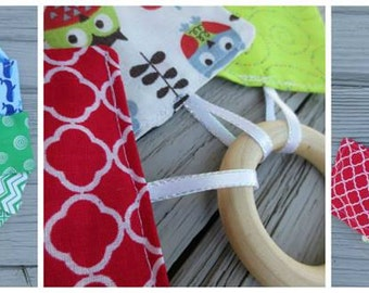 Hand Crafted Fabric Infant Baby Toy/ Teether with Rattle, Squeaker, Crinkle Paper, & Wooden Teething Ring