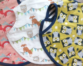 Reversible Infant Bib with Arm Opening, Boutique Style, Full Coverage.  Fox, Owl, Woodland, Baby Shower Gift, Nursery