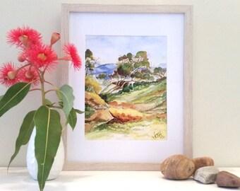 Australian Landscape Watercolour Print. Wall art, landscape, Australian Art, mountain scene, home decor, home wall art, office print